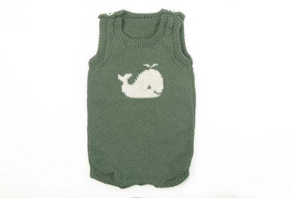 Baby Romper - Whale - Sea Green
